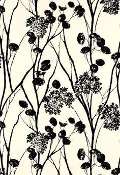 Classy black and white wallpaper from Avant Garde Schumacher Wallcoverings. http://www.lelandswallpaper.com