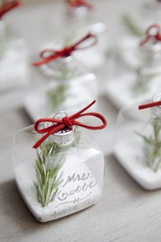 Ornament place card holders DIY rosemary and salt.