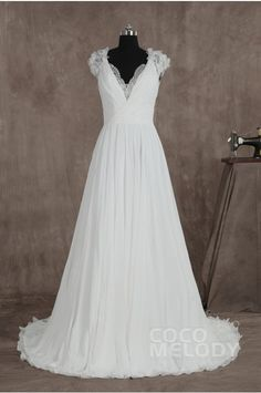 Classic Sheath-Column V-neck Natural Train Chiffon Ivory Sleeveless Wedding Dress with Draped LD2779 #weddingdress #cocomelody
