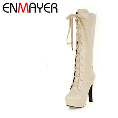Now  at our store Womens Fashion Mid-calf Boots Warm  Platform Shoes High Heels Lace-Up come see at A Sheek Boutique.