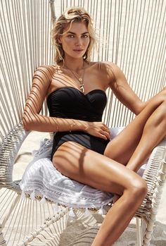 Jessica Hart wears a strapless one-piece swimsuit in Seafolly's summer 2017 campaign