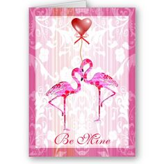 Pretty Flamingos Valentine Card