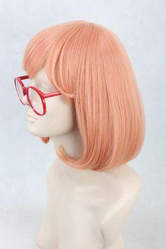 Kyoukai No Kanata Heroine Kuriyama Mirai Pink Short Anime Cosplay Wig Glass | eBay