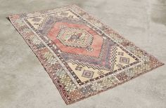 Vintage Traditional Turkish Oushak Rug 3.7' x by WovenInVintage