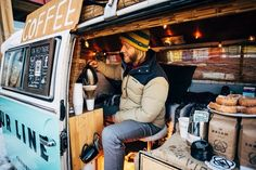 """In 115 square feet Erik wakes up and starts his day with a fresh pot of coffee. Unlike most people Erik is getting a new roast ready for more than just one. He travels around in a '71 VW Bus stopping in new cities to sell coffee and spread the message that others can also follow their dreams. For Erik that dream was a mobile coffee shop.  """"The bumpier the road the better the view at the end."""" (link in bio) @carabinercoffee by tinyhousetinyfootprint"""