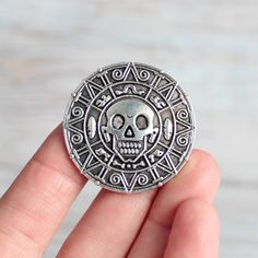 Skull Drawer Knobs in Silver - Round Pirate Cabinet Knobs in Silver for Pirate Room Decor - Boy Dresser Knobs Pirate Doubloon