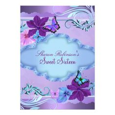 Pink and Blue Butterfly Garden Sweet 16 Invite