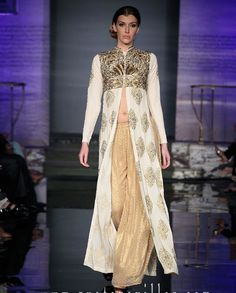 Heavy embroidered full length jacket with pallazos