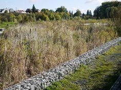 BASE Landscape Architecture, Garden of the Familistere #grasses, #gabions, #boardwalk, #france