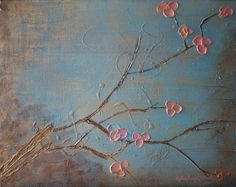 Simple yet appropriate looking blossoms for my painting....  Original modern abstract landscape painting - textured pink and gold Asian Tree Flower Blossom - no. 1. $60.00, via Etsy.