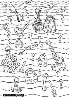 OPTIMIMMI | A free printable coloring page of keys, locks and secrets / Ilmainen tulostettava värityskuva avaimista, lukoista ja salaisuuksista