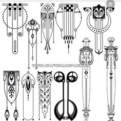 Collection of hand traced Art nouveau designs. These Art nouveau vector designs are available in dwg, eps, and svg formats. Motifs Art Nouveau, Design Art Nouveau, Motif Art Deco, Art Nouveau Pattern, Bijoux Art Nouveau, Art Nouveau Mucha, Art Nouveau Tattoo, Tattoo Painting, Tattoo Art