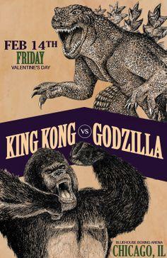 Boxing Poster for KCAI, King Kong Vs Godzilla, Digital, Alicia Marie Wyatt, 2014