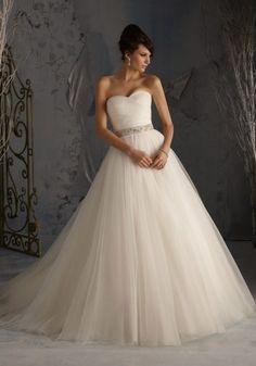 Asymmetrically Draped Net Wedding Dress with Elegant Styling