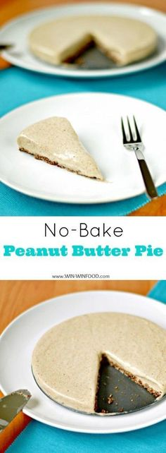 No-Bake Peanut Butter Pie | WIN-WINOOD.com #healthy #cleaneating #vegan #glutenfree and can be made #soyfree