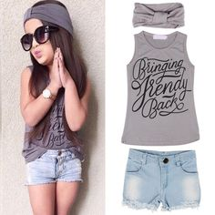 Cheap baby girl clothes, Buy Quality girls clothes directly from China summer baby Suppliers: 2017 Summer Baby Girl Kid Baby Girls Vest Top Clothes + Jeans Pants Shorts+Scarf Suit Outfit Cheap Baby Girl Clothes Little Girl Fashion, Toddler Fashion, Toddler Outfits, Kids Fashion, Fashion Games, Womens Fashion, Baby Girl Vest, Baby Girl Tops, Baby Girls