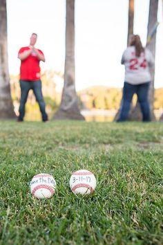 Save the Date Engagement Photo Ideas - Baseball theme