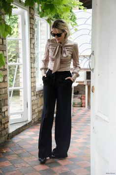 Outfit Post: Working Girl Wardrobe Essentials. Silk pussy bow blouse and a high-waisted trouser, to me, is a lovely addition to any stylish office girl wardrobe.  #FashionPost  #Blogger