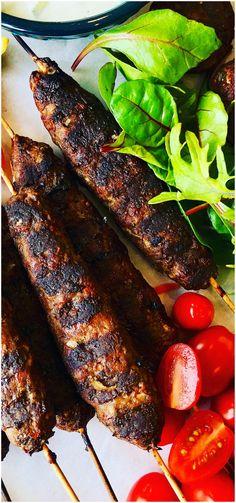 A delicious grilled Greek Mediterranean classic with ground lamb, cumin ,coriander, sumac served with pita bread and Tzatziki sauce -Easy Lamb Kofta Kebabs Recipe
