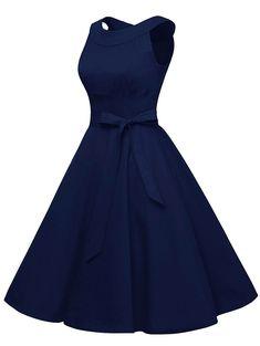 Vintage Belted Pin Up Swing Dress - DEEP BLUE 2XL