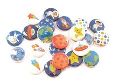 Outer Space Party Favors  Set of 24 Pinback by GandGButtons, $8.00