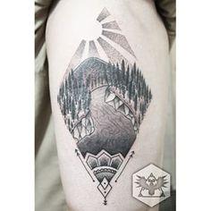mountain river tattoo pointillism - Google Search