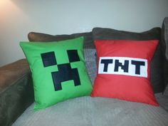 Minecraft inspired Creeper Cushion Cover by sugarfairiez on Etsy