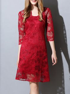 Guipure Lace Floral Lace 3/4 Sleeve Vintage Midi Dress