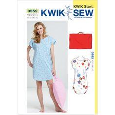 Kwik Sew Pattern Sleep Shirt and Pillowcase, (XS, S, M, L, XL)