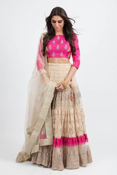 Buy embroidery work brasso net with speedy diamond & resham work designer lehenga choli online.This set is features a hot pink blouse in silk fully embellished with crystal, diamond and resham work.It has matching beige lehenga in brasso net with beau Indian Wedding Outfits, Indian Outfits, Indian Clothes, Indian Attire, Indian Wear, Indian Style, Anarkali, Churidar, Salwar Kameez