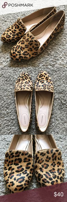 Lands' End Leopard Flats Fuzzy leopard print flats from Lands' End. Really good condition. Size 8 1/2. Lands' End Shoes Flats & Loafers