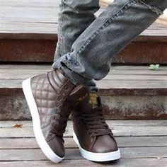 Quilted Brown Leather High Top Sneakers, Men's Spring Summer Fashion.
