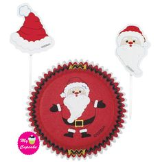 Secret Santa Cupcake Combo - Wilton Secret Santa Cupcake Combo is ideal for using during the Christmas festivities. Perfect for Christmas Baking Contains 24 cupcake cases 2 inch diameter and 3 inch high paper party picks, 12 of each design. Pack of 24 Santa Cupcakes, Christmas Cupcakes, Santa Christmas, Christmas Treats, Cadeau Surprise, Cupcake Cases, Cupcake Liners, Decoration Vitrine, Wilton Cake Decorating