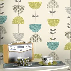 Holden Janey fifties inspired geometric floral wallpaper in Teal, Lime, Grey and Cream.     The Decorating Shop: Online Wallpaper Store