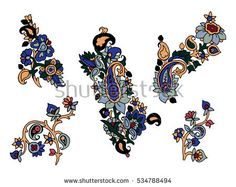 Set of vector colorful paisley elements.  traditional motives of Russia, India, Persia on white background. For your design.