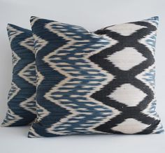 Luxury Ikat Navy Pillow Covers Navy Pillow Cover Navy Blue Pillow Covers, Blue Decorative Pillow Cover, Navy Pillow Cover, Navy Cushion : Luxury Ikat Navy Pillow Covers Navy Pillow Cover Navy Blue Pillow Covers, Blue Decorative Pillow Co Navy Blue Pillows, Ikat Pillows, Throw Cushions, Blue Pillow Covers, Decorative Pillow Covers, Fabric Design, Hand Weaving, Pillow Talk, Dry Cleaning