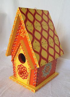 Orange and Yellow Painted Birdhouse AFrame With by SingingTrees, $35.00