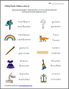 Free Worksheet: Making Plurals: Add -s or -es #homeschool
