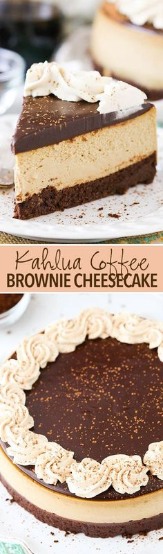 GOOD EATS/CHEESECAKE MANIA (LIQUOR) - Kahlua Coffee Brownie Cheesecake - A dense brownie bottom, Kahlua coffee cheesecake, Kahlua chocolate ganache & Kahlua whipped cream! Such a rich, creamy and delicious cheesecake! Mini Desserts, Just Desserts, Delicious Desserts, Dessert Recipes, Yummy Food, Brownie Recipes, Kahlua Recipes, Chocolate Cheesecake Recipes, Plated Desserts