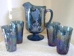 INDIANA IRIDESCENT BLUE CARNIVAL GLASS PITCHER 4 TUMBLERS harvest grape pattern | eBay