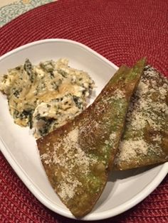 Lisa's Easy Spinach & Artichoke Dip with Fried Spinach Wrap Chips