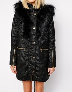 Enlarge River Island Removeable Faux Fur Front Parka With Leather Look Trim