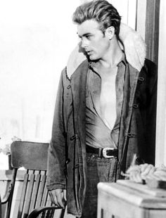 James Dean on the set of Giant, 1955.