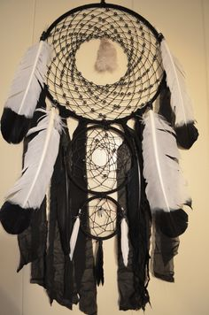 Black And White Spiral Dream Catcher With Fox fur by FaeriePanda on Etsy