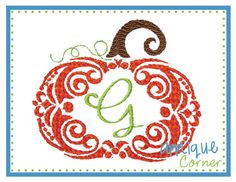 INSTANT DOWNLOAD Pumpkin swirl for by AppliqueCornerDesign on Etsy, $4.00