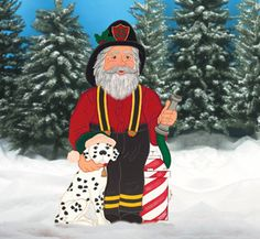 firefighters christmas decor | Fireman Santa Wood Pattern outdoor Christmas decoration
