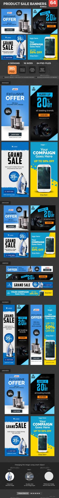 Product Sale Banners Design template Bundle - 4 Sets - Banners & Ads Web Template PSD. Download here: https://graphicriver.net/item/product-sale-banners-bundle-4-sets/11280695?s_rank=1799&ref=yinkira
