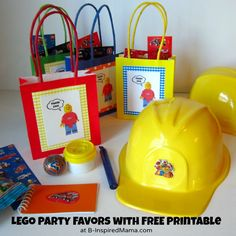 I LIKE THE SIMPLE FAVOR BAG IDEA LEGO Party Favors with Free Printable from B-Inspired Mama