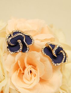 Blue Glaze Gold Diamond Rose Stud Earrings US$9.00