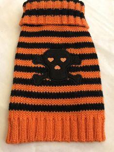 Pet Clothes Dog Sweater Size XXS Orange Black Stripe Skull Crossbones #Unbranded